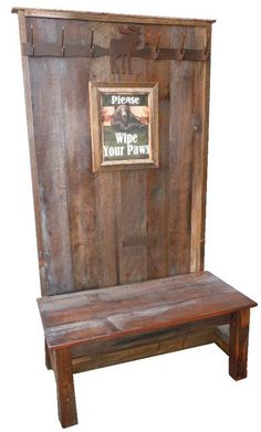 1000 Images About Rustic Coat Rack Bench Combo On