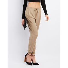 Charlotte Russe Drawstring Cargo Jogger Pants (31 CAD) ❤ liked on Polyvore featuring tan and charlotte russe