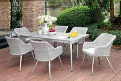 Shivani Silver Gray Fabric Aluminum 7pc Outdoor Dining Set Outdoor Tables And Chairs, Outdoor Dining Furniture, Outdoor Dining Set, Patio Dining, Patio Table, Dining Table, Dining Chairs, Bar Table Sets, Table And Chair Sets