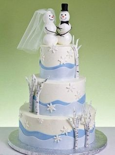 Winter Wedding Cakes With Topper