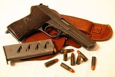 The CZ 52 pistol is a roller-locked short recoil-operated, detachable box magazine-fed, single-action, semi-automatic pistol chambered for the 7.62×25mm Tokarev cartridge.  Origin: Czechoslovakia.
