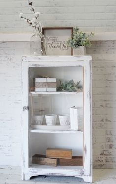 Small Glass Cabinet finished with Annie Sloan Chalk Paint & Distressed. Available to purchase at our shop Annie Sloan Chalk Paint Distressing, Farmhouse Cabinets, Bathroom Medicine Cabinet, Sweet Home, Glass, Burlap, Barn, Shop, Converted Barn