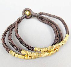Multi Line Cube Brass Bead Dark brown Wax by handmadethaicountry