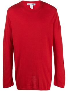 Red wool blend round neck jumper from Comme Des Garçons Shirt featuring long sleeves and a straight hem. Comme Des Garçons Shirt, Jumper, Comme Des Garcons, Acrylic Wool, Black Sweaters, Size Clothing, Wool Blend, Women Wear, Long Sleeve