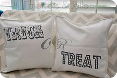 DIY trick or treat pillows -- too cute! #halloween