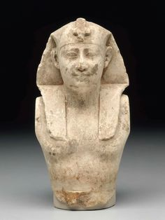 Upper part of a limestone statue of a king. Hellenistic Period (Ptolemaic Dynasty). 305–30 B.C. | Museum of Fine Arts, Boston