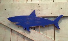 Distressed royal blue wood shark wall hanging nautical decor by NautiWoodWorks on Etsy https://www.etsy.com/listing/203607546/distressed-royal-blue-wood-shark-wall