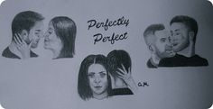 """Pencil montage of some of the couples from the music video for the Simple Plan song """"Perfectly Perfect"""". Pencil. Freehand, based on screenshots. Made using a mechanical pencil, eraser pen, regular eraser and blending stump."""