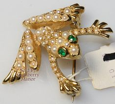 Neiman Marcus Brooch, Frog Pin, Faux Pearl Emerald Green Rhinestone Figural, Made in England Vintage Fashion Designer Signed Costume Jewelry