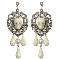 """La Belle"" Pendant Earrings Tarina Tarantino (84 CAD) ❤ liked on Polyvore featuring jewelry, earrings, lucite earrings, swarovski crystal pendant, skull jewelry, heart pendant and heart dangle earrings"