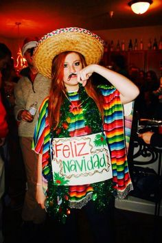 Feliz Navidad Sweater: If you are attending an ugly Christmas sweater party this year, we have got you covered! Here are 25 Ugly Christmas Sweater Ideas for you to use as inspiration. Funny Christmas Costumes, Tacky Christmas Party, Christmas Humor, Holiday Fun, Christmas Ideas, Christmas Time, Xmas Party, Festive, Merry Christmas
