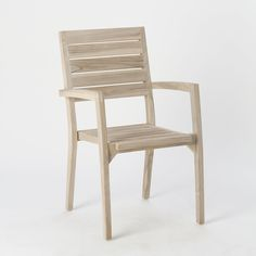 "Stackable styling and weather-resistant teak make this chair a practical choice for occasional seating on the patio or in the garden.- Teak, Weather Guard finish- Indoor or outdoor use- Imported38.2""H, 20.9""W, 21.7""D"