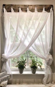 Diy no sew drop cloth curtains a cheap diy curtain rod show off simple farmhouse window treatments solutioingenieria Image collections