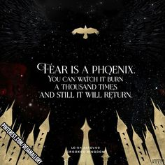 """ Quotes from Crooked Kingdom by Leigh Bardugo. Six of the crows … ""Fear is a phoenix."" Quotes from Crooked Kingdom by Leigh Bardugo . Six of Crows duology book books quotes gold art graphic - Unique Wallpaper Quotes Ya Book Quotes, Favorite Book Quotes, Fantasy Quotes, Fantasy Books, Ya Books, I Love Books, Literature Books, Book Tv, Book Nerd"