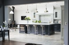 One of our favourite kitchens we have done - our beautiful 1909 In-Frame kitchen in Charcoal and Partridge Grey - an absolute stunner! Grand Kitchen, Open Plan Kitchen Living Room, Real Kitchen, Kitchen Decor, Kitchen Ideas, Luxury Kitchen Design, Luxury Kitchens, Home Kitchens, Howdens Kitchens