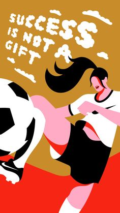 Nike x Whalar Social media campaign with Nike celebrating the Women's World Cup. The illustrations were inspired by German national player Sara Däbritz and her theme Success is not a gift . Lisa, New Scientist, Journal 3, Success, Women's World Cup, Paradigm Shift, Freelance Illustrator, Losing Her, Wall Collage