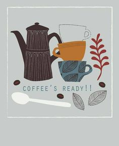 Art, design and illustration by Victoria Johnson. Sweet Coffee, I Love Coffee, My Coffee, Coffee Cafe, Coffee Shop, Coffee Menu, Tee Illustration, Cafe Rico, Ground Coffee Beans