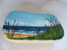 Reserved for B x English coastline - Miniature painting on English sea pottery - original acrylic art