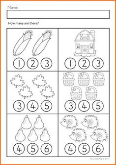 Math Worksheets & Activities - Autumn (Beginning Skills). Count and color…