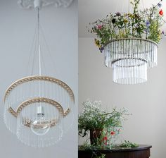 Science-inspired design that's lovely; lamp made from chemistry test tubes with floral trimmings