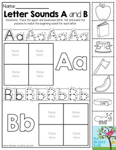 Letter Sounds- Trace the letters. Then cut and paste the pictures to match the beginning sound. Perfect for the beginning of the school year! Back to School NO PREP Packet for Kindergarten! Teaching Letter Sounds, Teaching Letters, Alphabet Sounds, Alphabet Worksheets, Kindergarten Worksheets, Free Worksheets, Printable Alphabet, Alphabet Tracing, Printable Worksheets