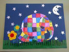 Tapa álbum escolar. Dibujar elefante de colores en la portada de los trabajos de clase