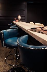 navy leather studded bar chairs