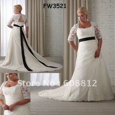 Free Shipping Custom-made FW3521 Newest Style Floor Length Plus Size Wedding Dresses With Sleeves