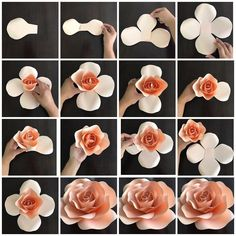 Create your own paper flowers using CBM templates. This listing is for hard copy paper flower templates which are made out of cardstock paper and are ready to use. The listing price is for ONE t (Diy Paper Flowers) Create your own paper flowers using CBM Large Paper Flowers, Paper Flower Wall, Giant Paper Flowers, Paper Flower Backdrop, Diy Flowers, Fabric Flowers, Diy Paper Roses, How To Make Paper Flowers, Flower From Paper