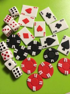 These creative and eye catching 24 pieces Casino party inspired assorted cupcake toppers. You may put two design in each cupcake or decorate it