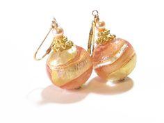Murano Glass Peach Gold Ball Dangle Earrings, Venetian Glass Jewellery, Italian Jewelry, Leverback Earrings