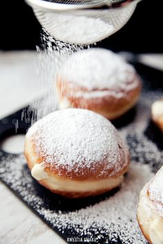 Doughnuts (Berliners) with vanilla filling
