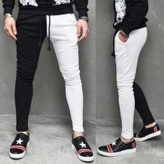 Mens FashionTwo Tone Contrast Slim Baggy Sweatpants By Guylook.com