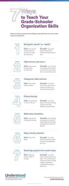 How to Teach Children Organization Skills Infographic