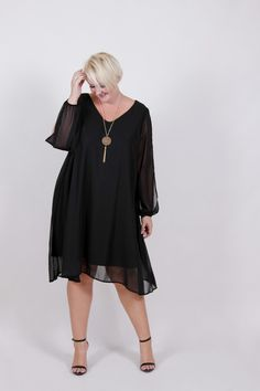 Plus Size Clothing for Women - Plus Size LBD Chiffon Dress (Sizes 18 - 24) - Society+ - Society Plus - Buy Online Now! - 2