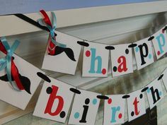 Mustache Birthday Party Banner-Mustache Party Decorations- Unisex Birthday Garland- Adult or Kids Birthday Banner- You Pick the Colors. $39.00, via Etsy.