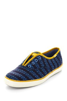 Keds Champion Blue and Yellow Laceless Stripe Floral Slip-On Sneaker #colorful #sneakers