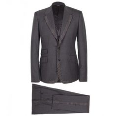 Dolce & Gabbana Grey 3 Piece Single-breasted Tuxedo Suit ($3,405) ❤ liked on Polyvore featuring mens, men's clothing and men's suits