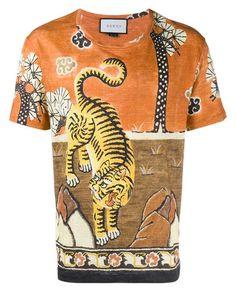 GUCCI Tiger Print Linen Jersey T-Shirt. #gucci #cloth #