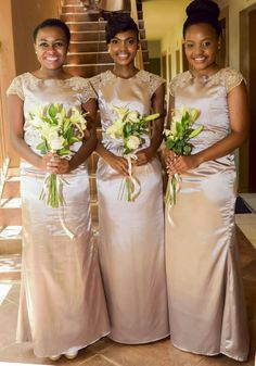Beautiful Bridesmaids with gold dresses