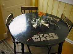 This Star Wars table where you can put center pieces on Vader's nose.
