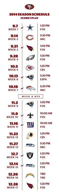 49er season schedule .. can't wait!