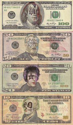 artist James Charles doesn't seem to be in any legal trouble for his awesome series of Pop Culture Cash. His portraits, created on real money using ink, turn dead presidents into colorfully amusing pop culture icons. Paul Stanley, Cultura Pop, Pink Floyd, Camisa Rock, Eric Singer, The Beatles, Kiss Art, Hot Band, Gene Simmons