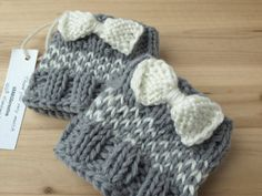 Knitted Boot Cuffs with Bow Gray and White Knit by VANAGScreative
