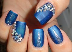 Wendy's Delights: Blue & Silver Mani using 3D Nail Art Rhinestone Gems from Lady Queen @ladyqueenbeauty 15% discount code use AELC15 at checkout