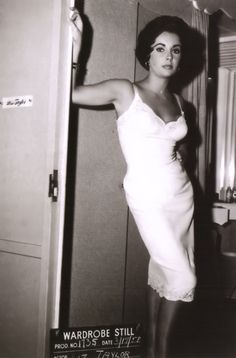 Elizabeth Taylor on the set of Cat on a Hot Tin Roof
