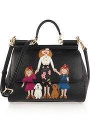 DOLCE & GABBANA Sicily medium embellished textured-leather shoulder bag