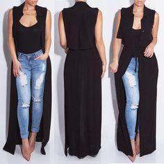 Women Kimono Jacket Chiffon Cardigan Black Long Top Blouse Beach Cover Up Dress