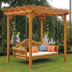 Cedar Pergola Swing Bed Stand on Picsity. I could use my existing swing and suspend it from the pergola! Cedar Pergola, Pergola Swing, Backyard Pergola, Backyard Ideas, Landscaping Ideas, Backyard Swings, Porch Swings, Patio Ideas, Garden Swings