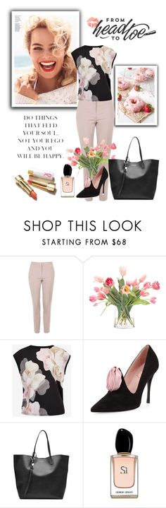 """""""Happyness"""" by poshscarlet ❤ liked on Polyvore featuring Topshop, NDI, Ted Baker, Roger Vivier, Alexander McQueen and Armani Beauty"""